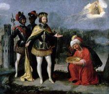 الصورة لأبي عبد الله آخر ملوك غرناطة منحنيا لفرناندو عندما سلمه مفاتيحها